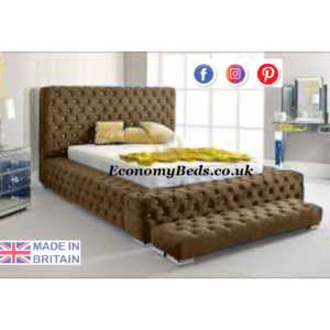 Brown plush velvet Ambassador Bed