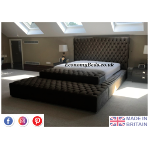 Black Plush Ambassador Windermere Chesterfield Bed