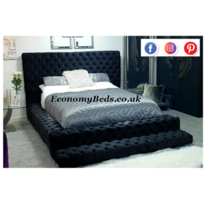 Black Plush Velvet Park Lane Bed Frame