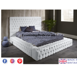 Cream Plush Velvet Ambassador Bed Frame
