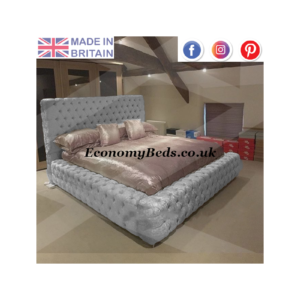 Grey Crushed Velvet Ambassador Bed