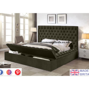 Grey Plush Velvet Ambassador Chesterfield Bed