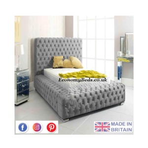 Grey Plush Velvet Park Lane Bed Frame