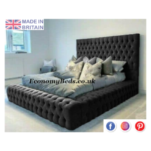 Park Lane Crushed Black Velvet Bed