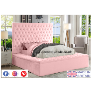 Pink plush Velvet Fancy Upholstered Mayfair Velvet Beds.