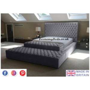 Steel Plush Velvet Ambassador Windermere Chesterfield Bed